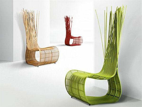Rattanmöbel polyrattan garten ideen grün stuhl
