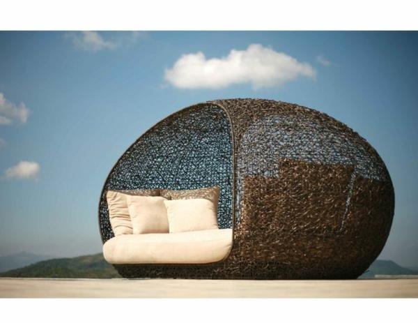 strand Rattanmöbel polyrattan garten ideen liege lounge