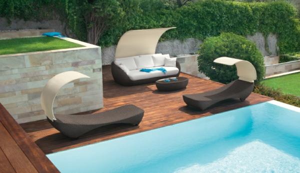 Outdoor Rattanmöbel Polyrattan Garten Ideen Pool Holz