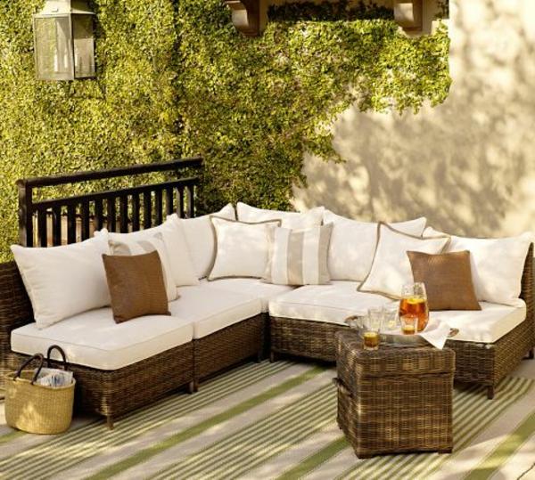 Outdoor Rattanmöbel polyrattan garten ideen sofa