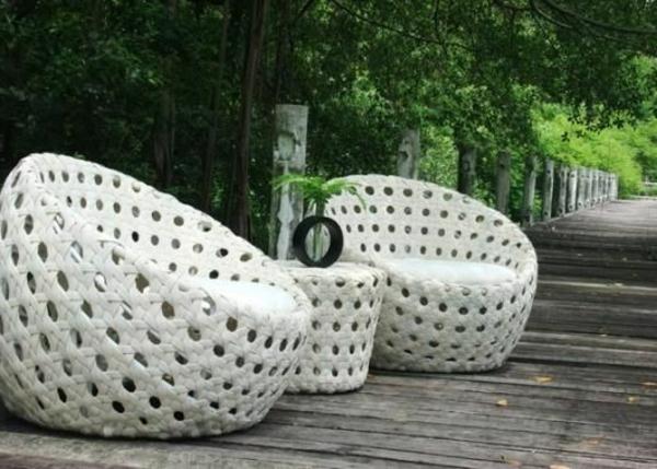 künstlich Rattanmöbel polyrattan garten ideen weiß sessel