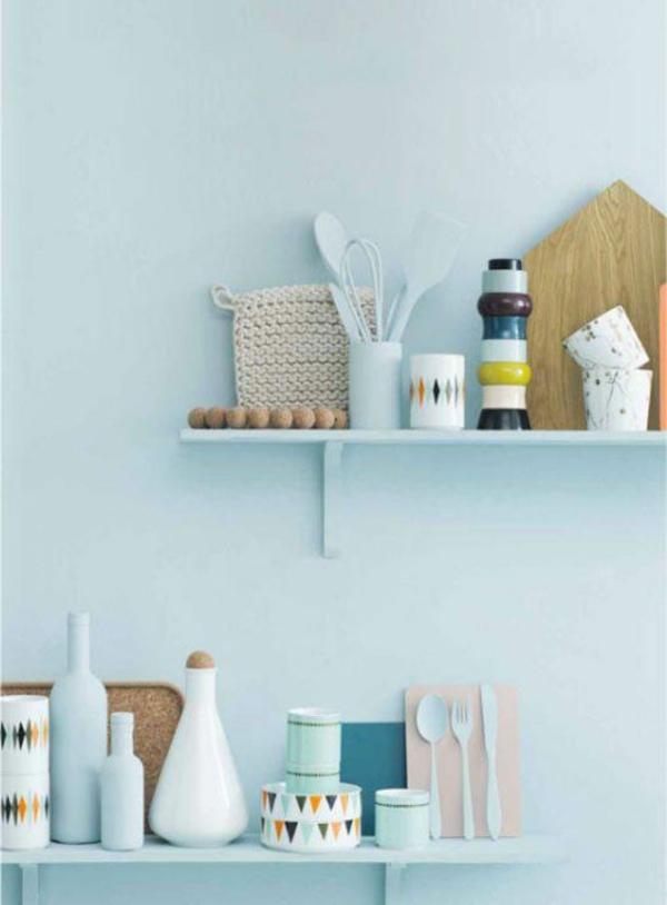 Farbpalette Wandfarbe Pastell : farbpalette farbgestaltung Pastell Wandfarben blau regale