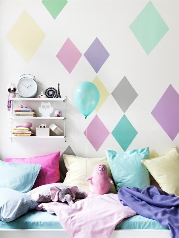Pastell farbpalette farbgestaltung wanddeko bunt rauten
