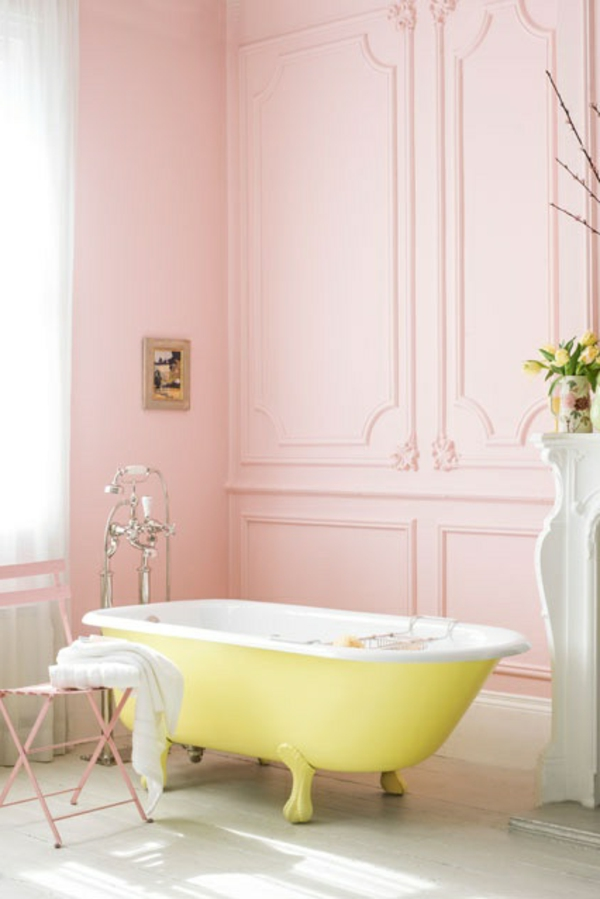 Pastell farbpalette farbgestaltung wanddeko gelb badewanne