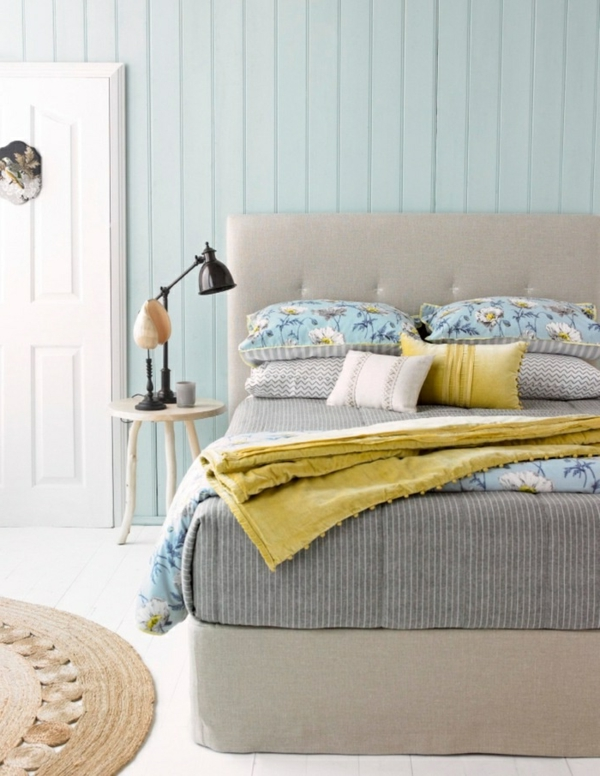 Wandfarben farbpalette Pastell farbgestaltung wanddeko gelb bettwäsche
