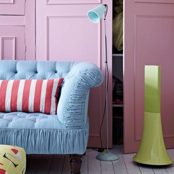 Pastell farbpalette farbgestaltung wanddeko sofa blau