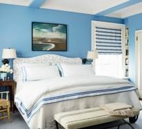 Taubenblaue Wandfarbe – wasserfarbene Inneneinrichtung