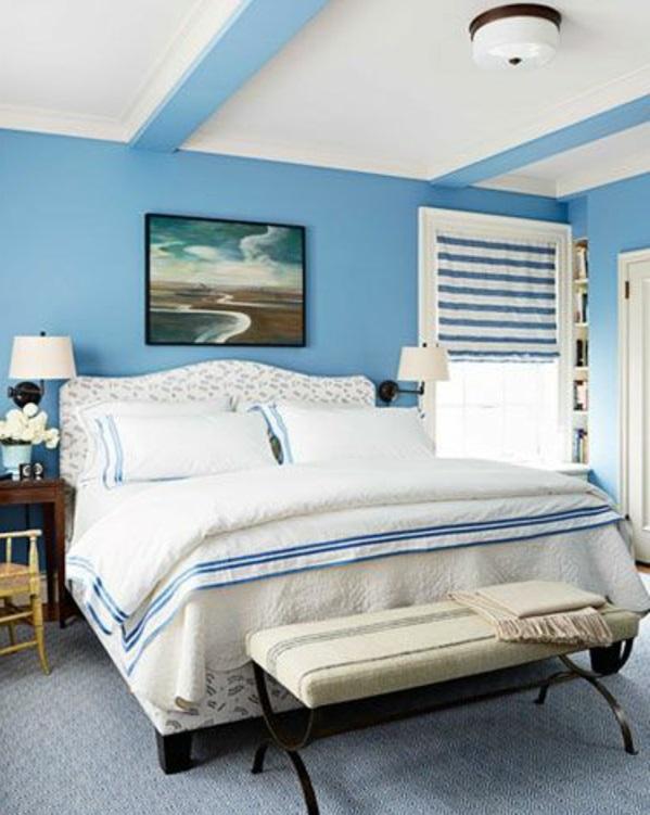 Taubenblauе Wandfarbe feminine einrichtung