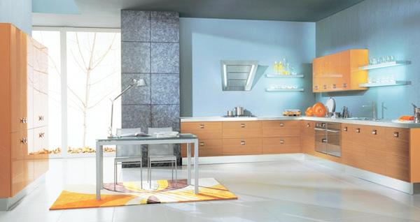 blauе möbel Wandfarbe holz küchenschrank braun