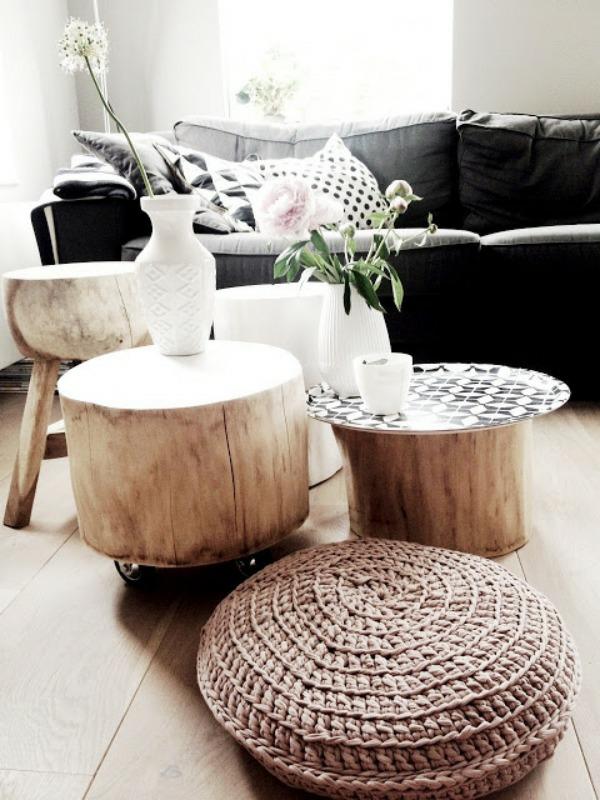 Tisch Aus Baumstamm Hocker