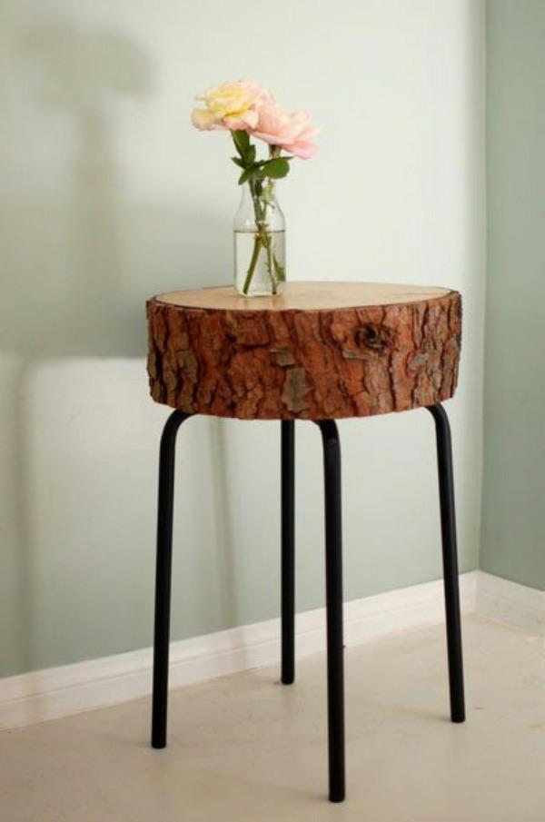 Holzstamm Tisch Design   Modern und industriell zugleich