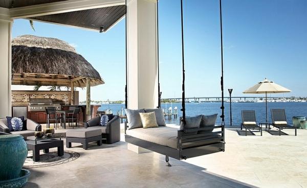 Trendy hängebett outdoor bett terrassengestaltung