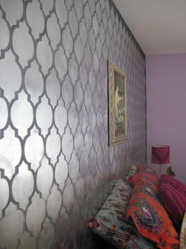 Wandfarbe rauten Metalleffekt wandgestaltung farbe formen