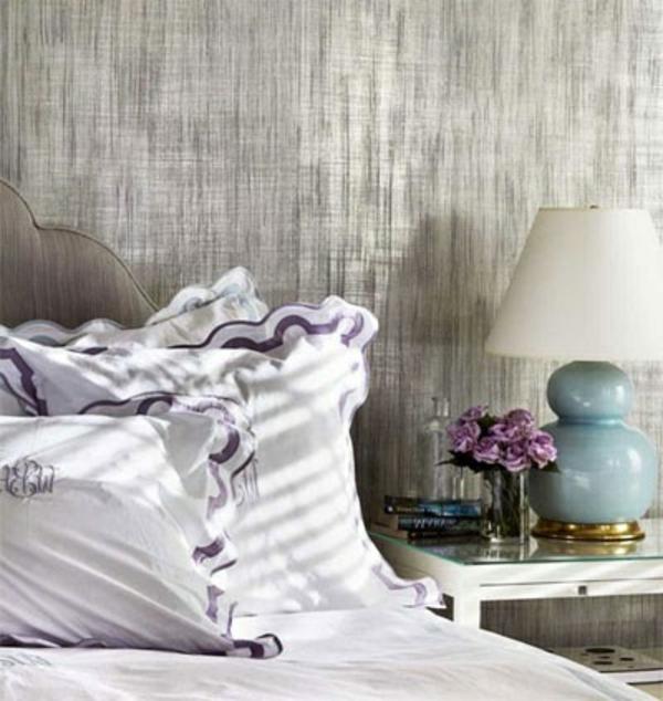 WaWandfarbe kopfteil Metalleffekt wandgestaltung farbe schlafzimmerwand