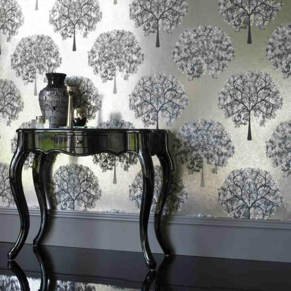 Wandfarbe mit Metalleffekt wandgestaltung farbe tisch deko