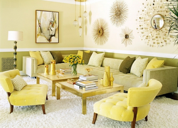 Wohnideen wanddeko Farbkombination wandfarbe gelb sonnig