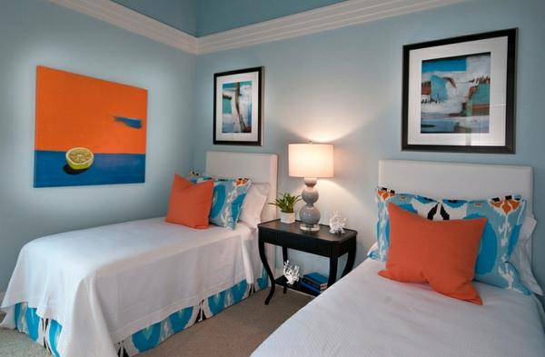 Farbkombination wandfarbe Wohnideen sommer schlafzimmer bett