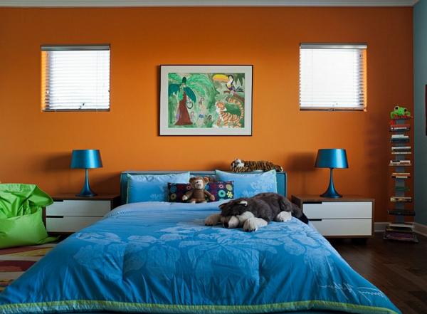 wohnzimmer blau orange:Wohnideen für Farbkombination wandfarbe wohnzimmer blau bettwäsche