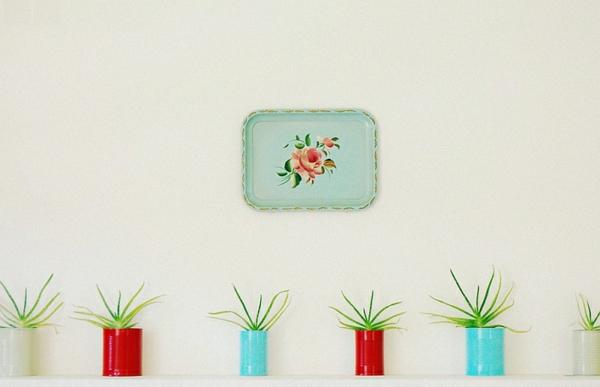 Wohnideen für Farbkombination wandfarbe wohnzimmer blumentopf