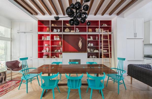 Wohnideen für Farbkombination wandfarbe wohnzimmer esstisch stühle