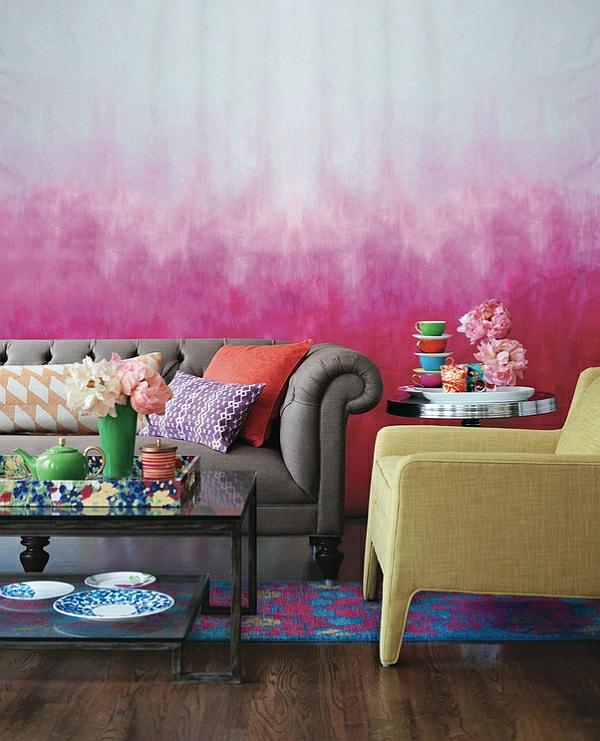 Wohnideen für Farbkombination wandfarbe wohnzimmer gelb sessel