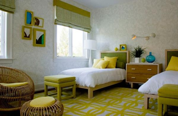 Wohnideen Farbkombination wandfarbe wohnzimmer rollo