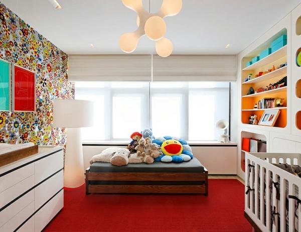 Wohnideen für Farbkombination wandfarbe wohnzimmer rot teppich