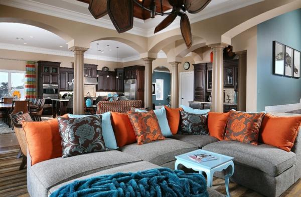 Wohnideen Farbkombination wandfarbe wohnzimmer sofa kissen