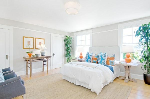 Wohnideen weiß bettwäsche Farbkombination wandfarbe wohnzimmer teppich