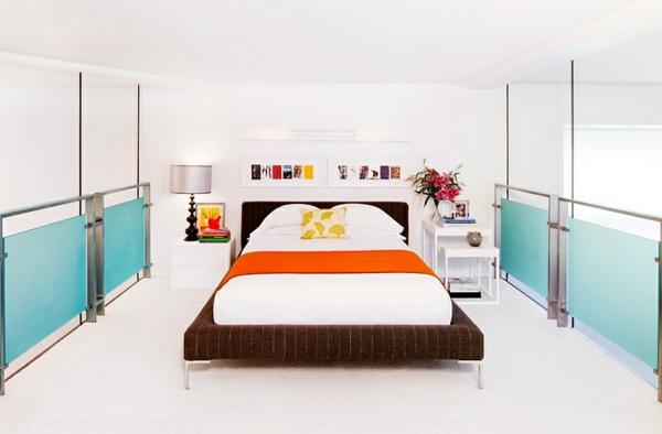 Farbkombination wandfarbe wohnzimmer weiß bett