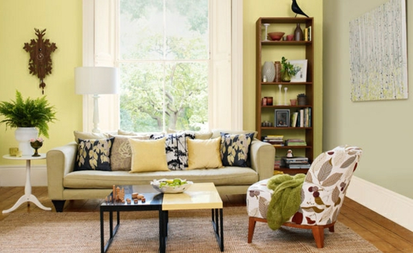 Wohnzimmer Farbvorschläge gelbe wände