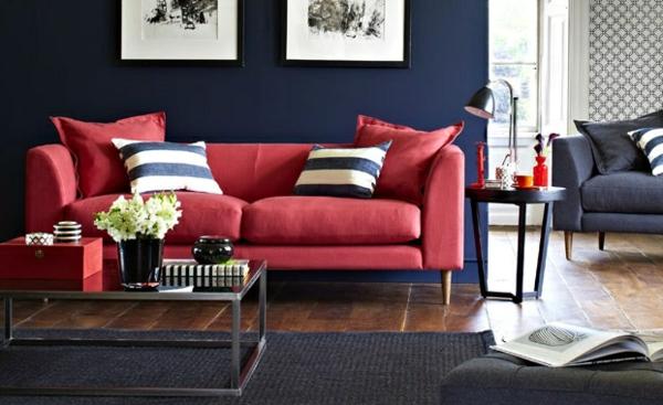 Wohnzimmer Farbvorschläge rot sofa kissen