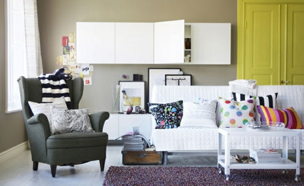 Wohnzimmer Farbvorschläge weiß sofa