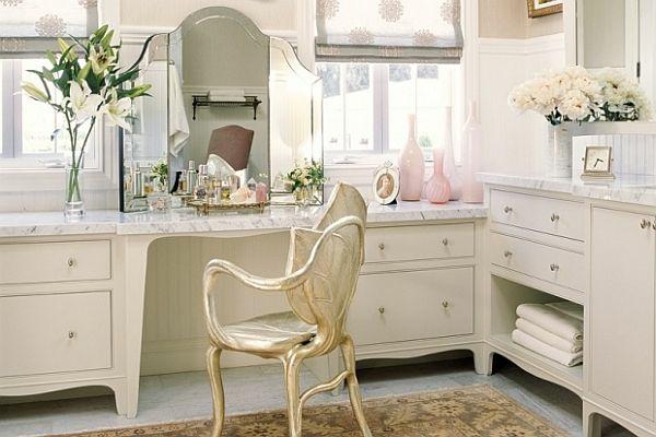 ankleidezimmer möbel luxuriös schminktisch marmor oberfläche