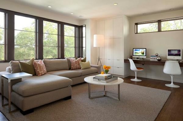 arbeitsbereich heimbüro gestalten wohnzimmer beleuchtungsideen standleuchten stativlampe