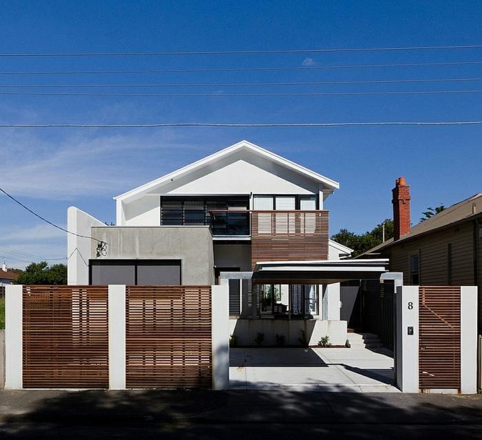 architektenhaus moderne architektur außenbereich gestalten gartenzaun aus holz