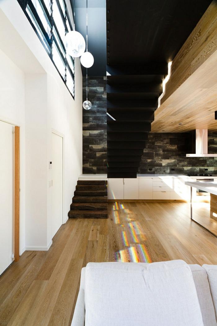 architektenhaus moderne holzinneneinrichtung holzboden holzdecke