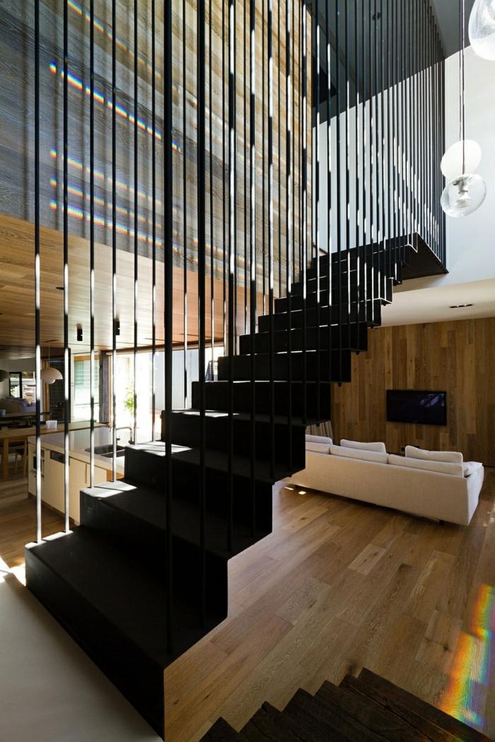 architektenhaus moderne holzinneneinrichtung holzboden treppenhaus