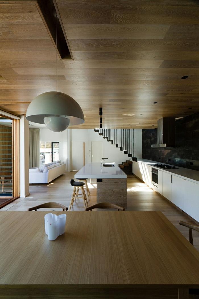 architektenhaus moderne inneneinrichtung holz küche esszimmer holztisch