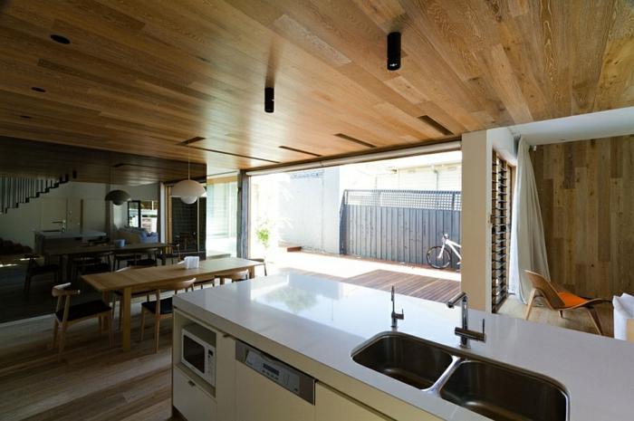 architektenhaus moderne inneneinrichtung holzküche esszimmer
