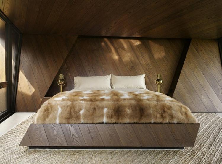 architektur und design architektenhaus schlafzimmer felldecke teppichboden holz wandverkleidung