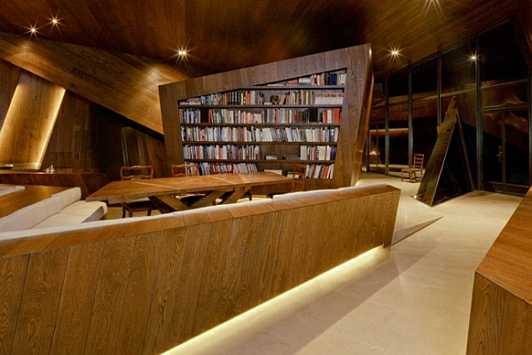 architektur und design holzeinrichtung hausbibliothek wohnzimmer einrichten