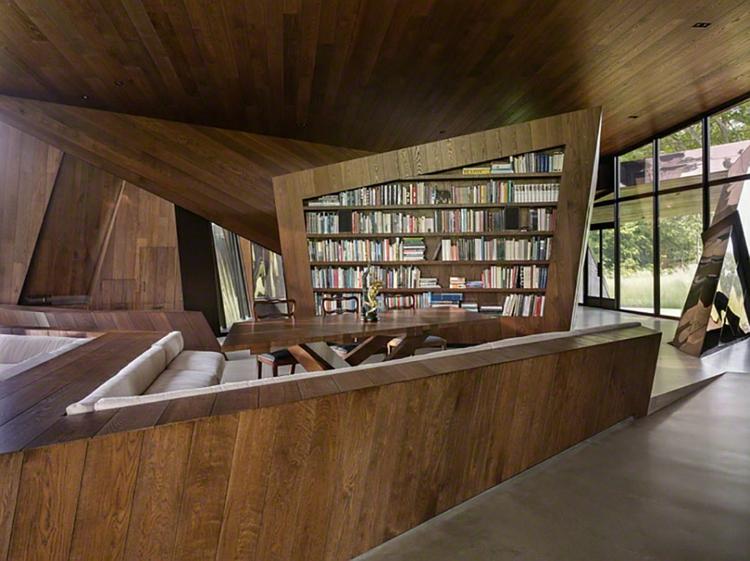 architektur und design holzeinrichtung minimalistisch hausbibliothek wohnzimmer
