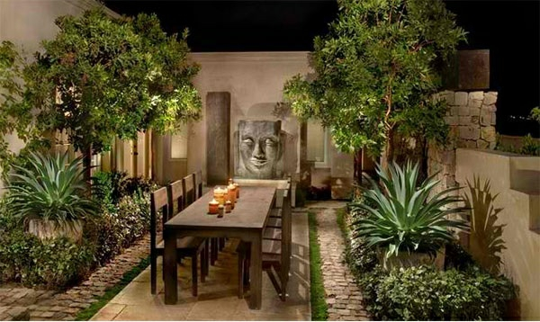 asiatischer garten patio gartenmöbel grüne pflanzen