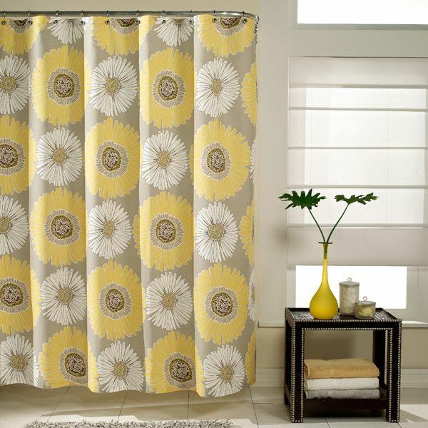badezimmer badvorhang duschvorhang gelbe blumen