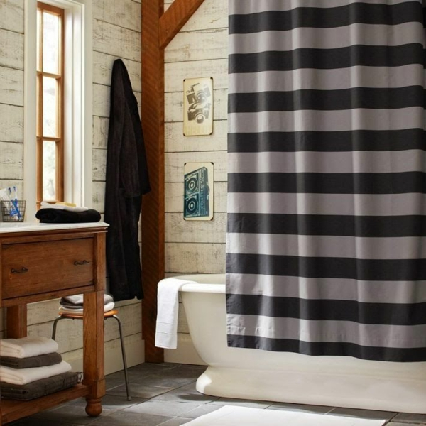 badezimmer design badvorhänge duschvorhang grau badewanne