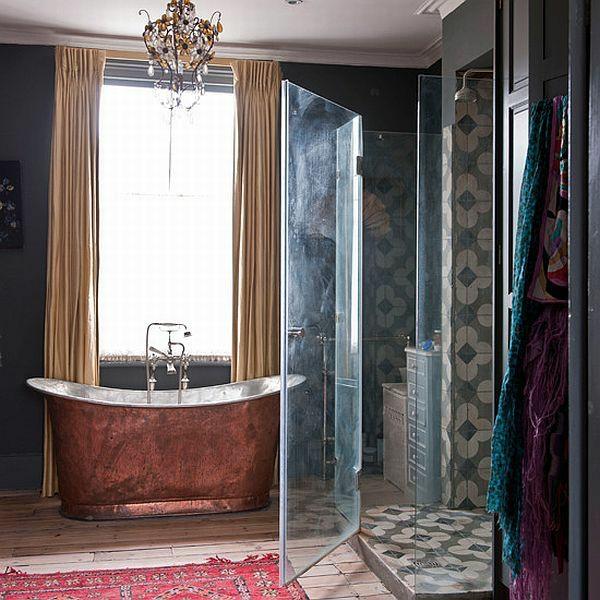 badezimmer design freistehende badewanne badvorhang duschvorhang