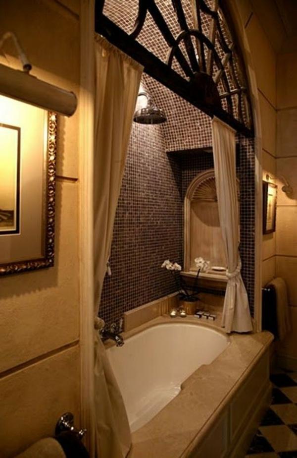 badezimmer design luxuriös badvorhänge duschvorhang badewanne