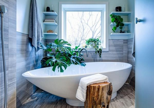 Badezimmer Zeitgenössisch Freistehende Badewanne Eckregal