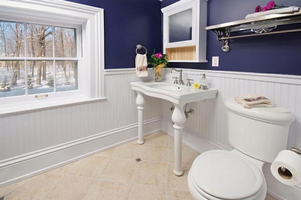 badezimmer gestalten badmöbel blaue wand